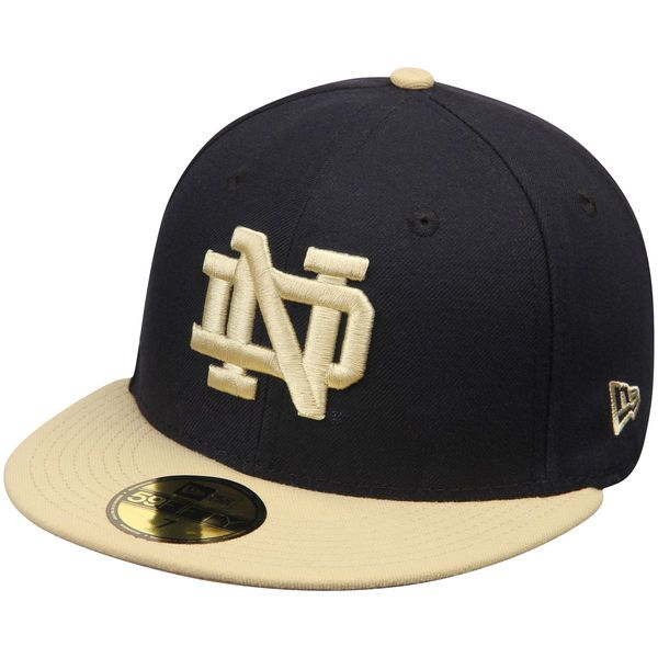 503fb74a539 Notre Dame Fighting Irish New Era Basic 59FIFTY Fitted Hat - Navy Vegas Gold