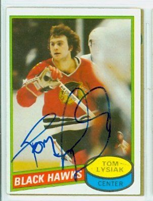 Tom Lysiak AUTO 1980-81 Topps Black Hawks by Regular Topps Issue. $6.00. This card was signed by Tom Lysiak and authenticated by JSA - a leading 3rd party authenticator