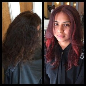 brunette to red hair, dimension, pop of color, long hair, red hair ...