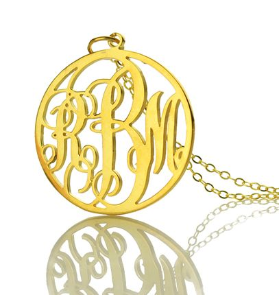 """Free shipping 925 sterling silver 18k gold filled monogram necklace with 16"""" chain as christmas gift $28.37"""