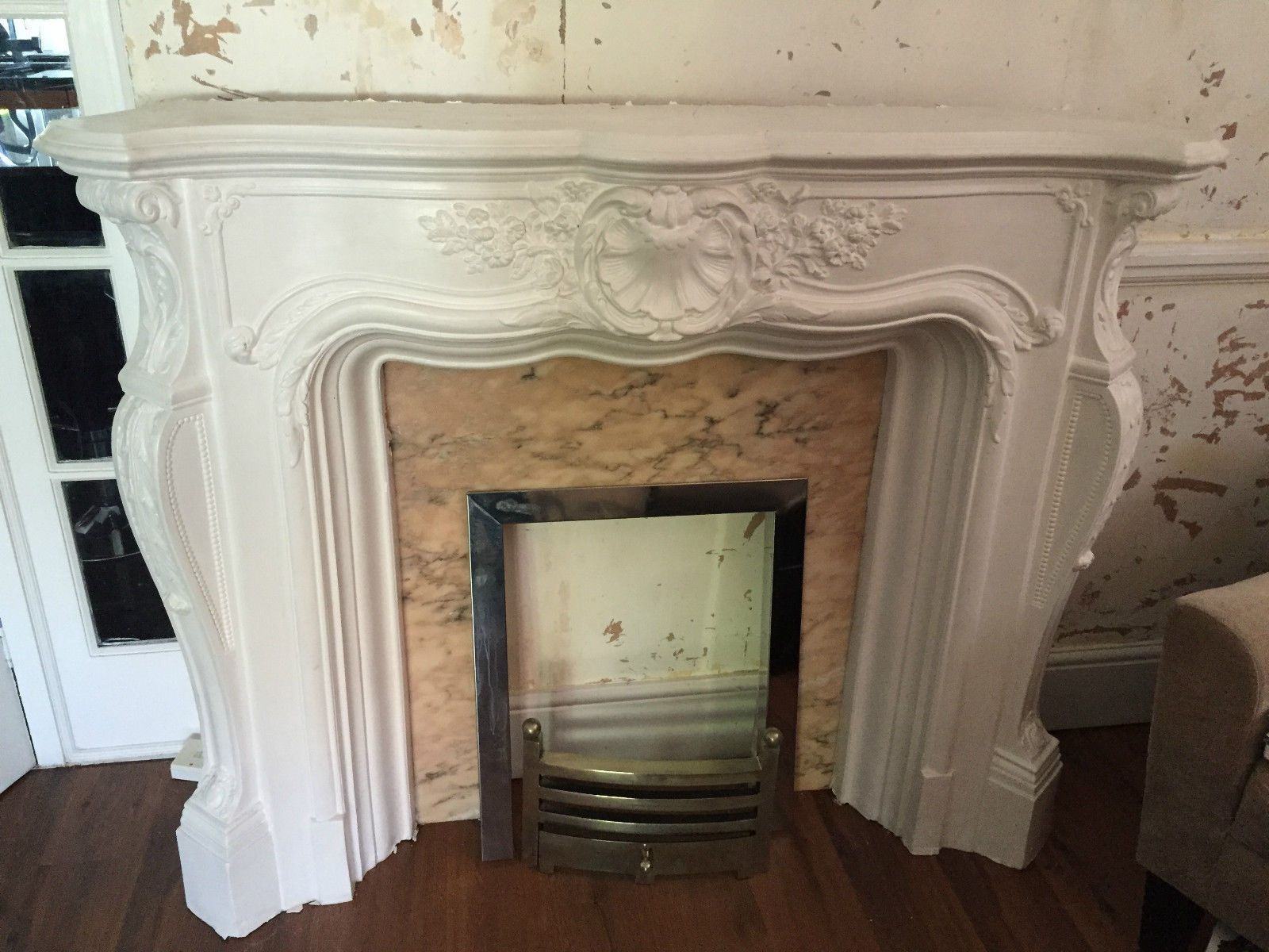 white louis xv plaster fire surround with hearth and fire basket