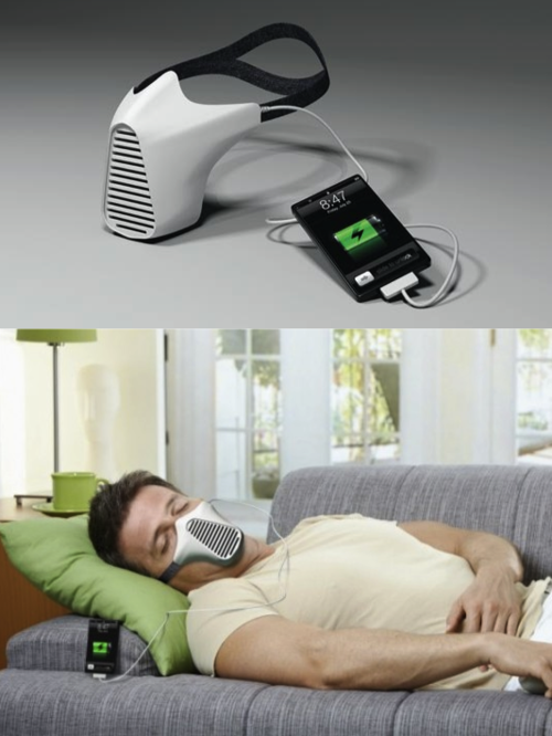 mask that converts wind energy...I could be charging my iPad right now if I had one for my husband!