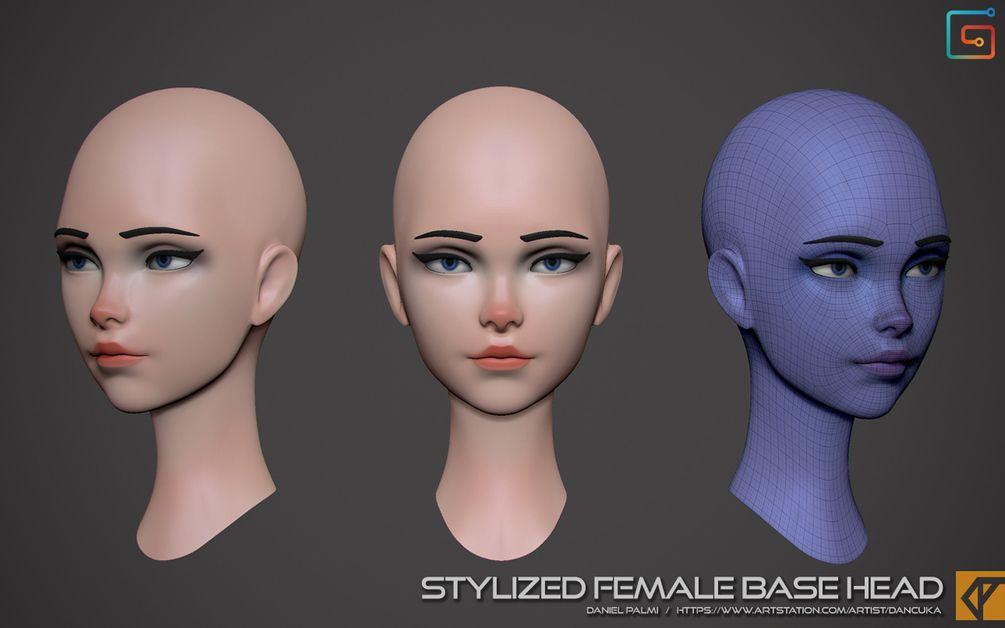 Stylized Female Head Base Mesh Zbrush Female Head Figure Drawing Female Zbrush