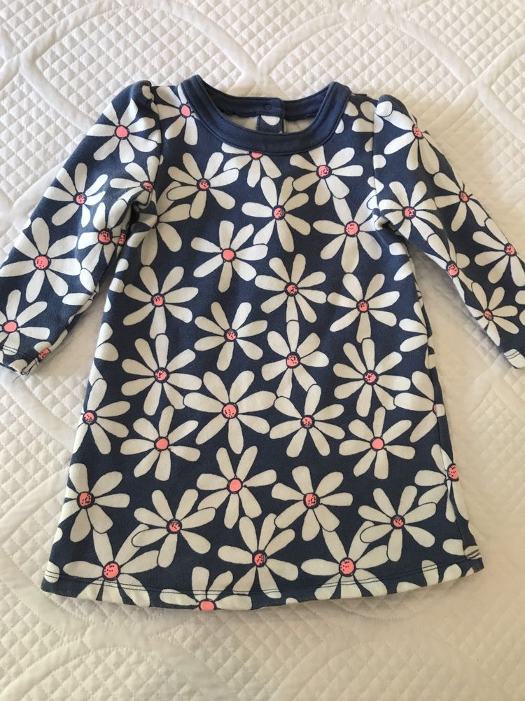 Gymboree 18-24 months Toddler Girl Floral Long Sleeve Fleece Dress ...
