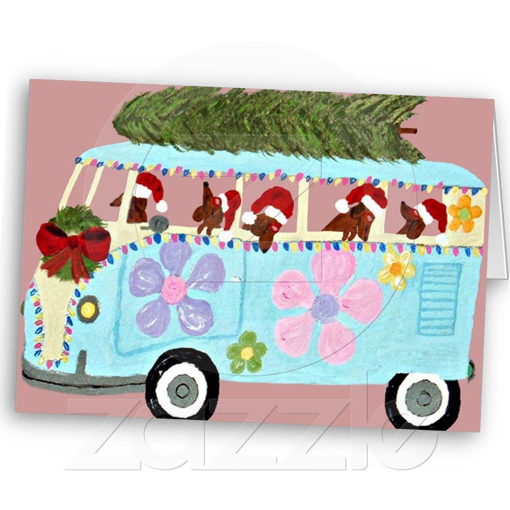 Dachshund Christmas Van Card!
