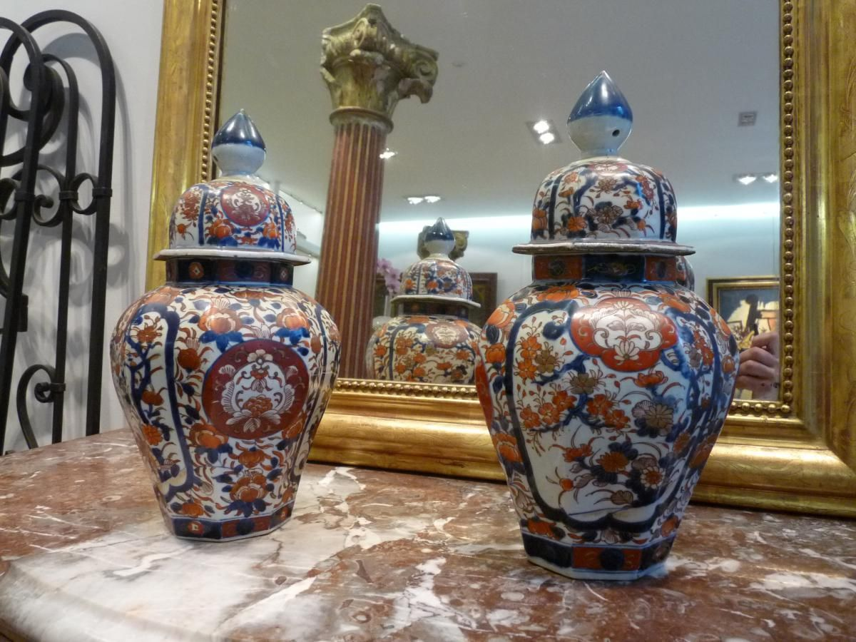 Beautiful pair of imari porcelain vases 18th century typical beautiful pair of imari porcelain vases century typical flowered geniune imari blue and orange decor for sale by antiquaire art antics reviewsmspy