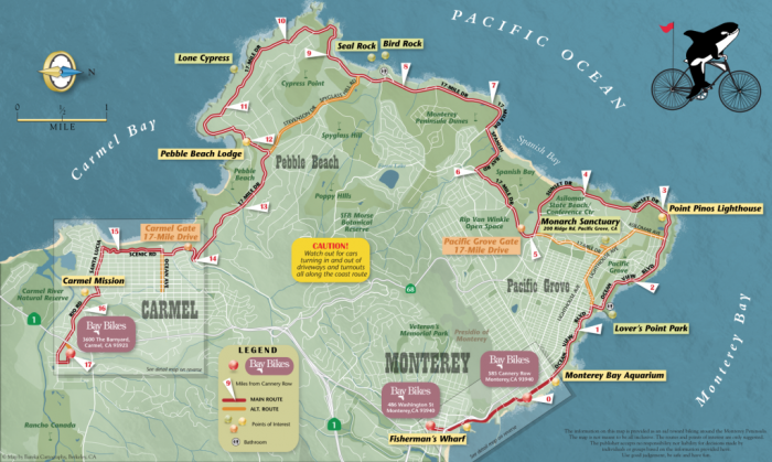 4 Days In Monterey Map Of 17 Mile Drive Monterey Map Monterey California Holiday