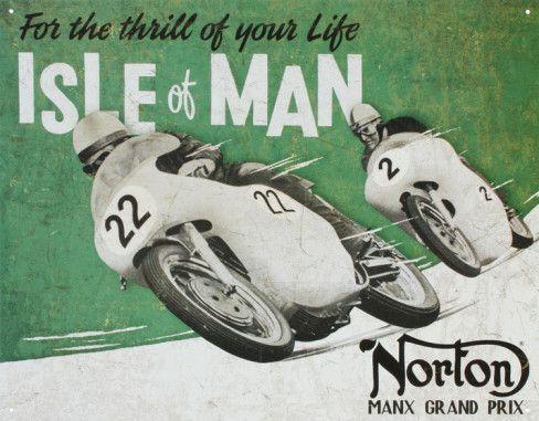 de Norton Isle of Man Manx Grand Prix metal sign