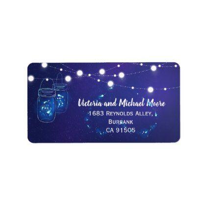 Rustic Mason Jar Lights and fireflies Wedding Label Wedding labels