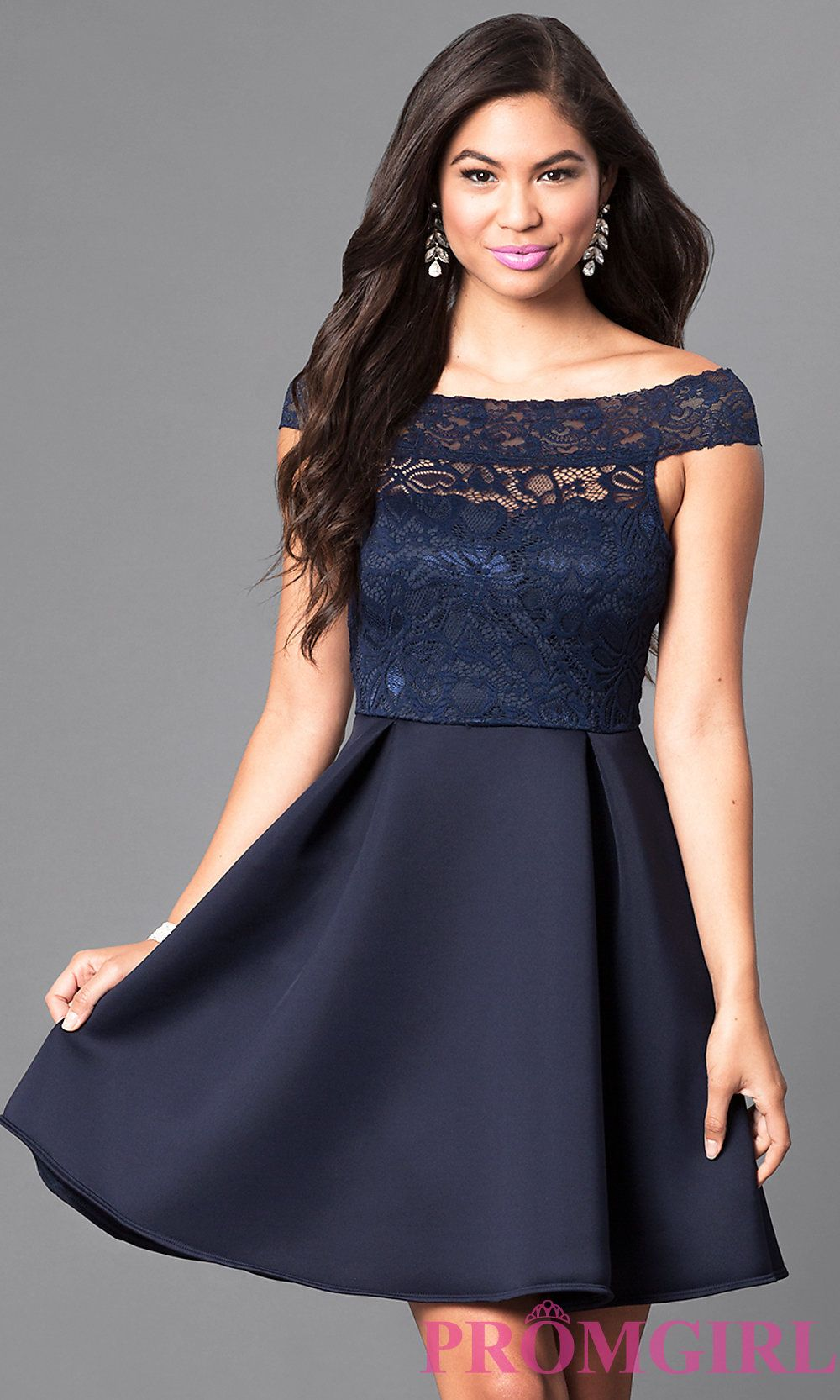 Navy Off The Shoulder Lace Bodice Homecoming Dress Homecoming Dresses Spring Formal Dresses Semi Formal Dresses For Teens [ 1666 x 1000 Pixel ]