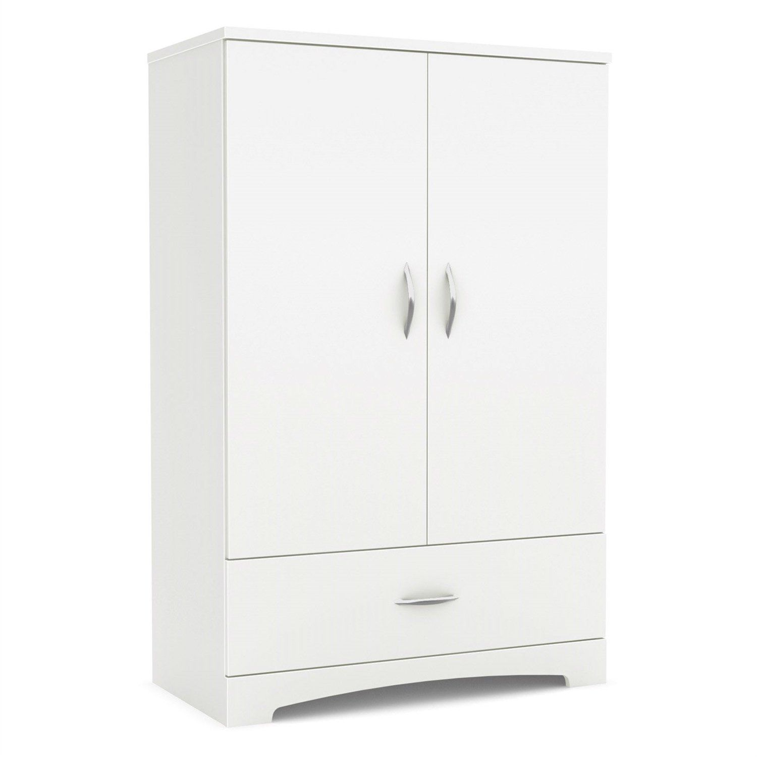 2 Door Armoire Wardrobe Cabinet With Bottom Storage Drawer In White Wood  Finish