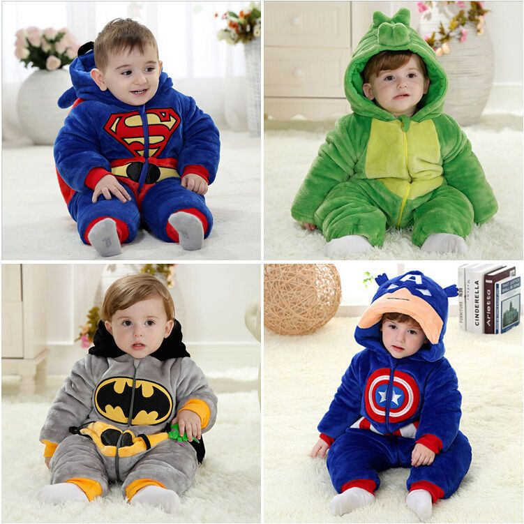 Flannel Winter Batman Superman Baby Boys Girls Rompers Kids New Born One-piece