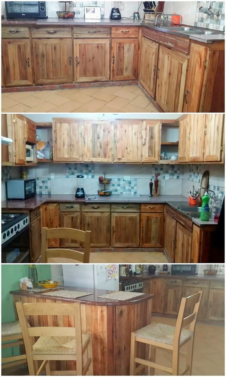 Let S Check Out The Flawless Designing Of The Kitchen Cabinets Where The Material Of The Wood Pallet Pallet Kitchen Rustic Kitchen Design Diy Kitchen Cabinets