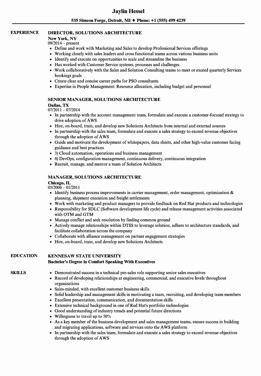Aws Cloud Engineer Resume Unique Solutions Architecture Resume Samples Resume Examples Manager Resume Business Resume Template