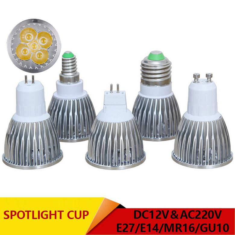Super Bright Spotlight Led Lamp Led Spotlight Dc Ac 12v 3w 4w 5w High Quality Gu10 Mr16 E27 E14 Spot Light Lampada Led Bulb 220v With Images Led Spotlight Led Bulb