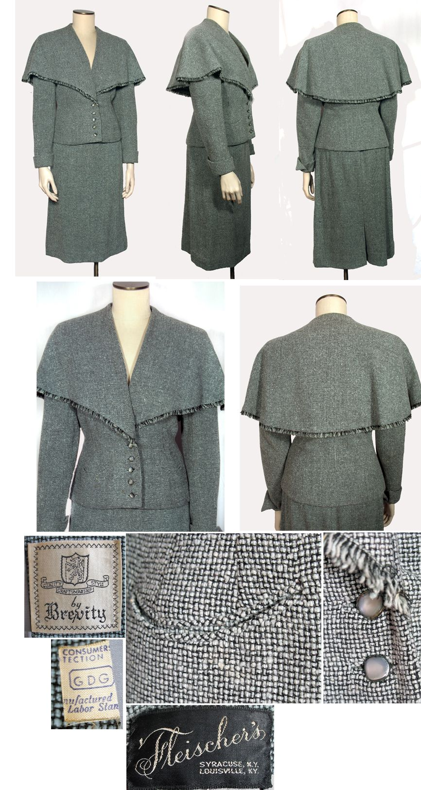 1940s Soft Blue and Black Tweed Wool Vintage Suit with Cape Collar. This is a beautifully constructed and designed vintage suit that would flatter any figure. I love the cape collar!