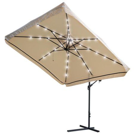 Buy Yescom 9x9Ft Square Solar Power LED Patio Offset Umbrella Hanging  Outdoor Cantilever