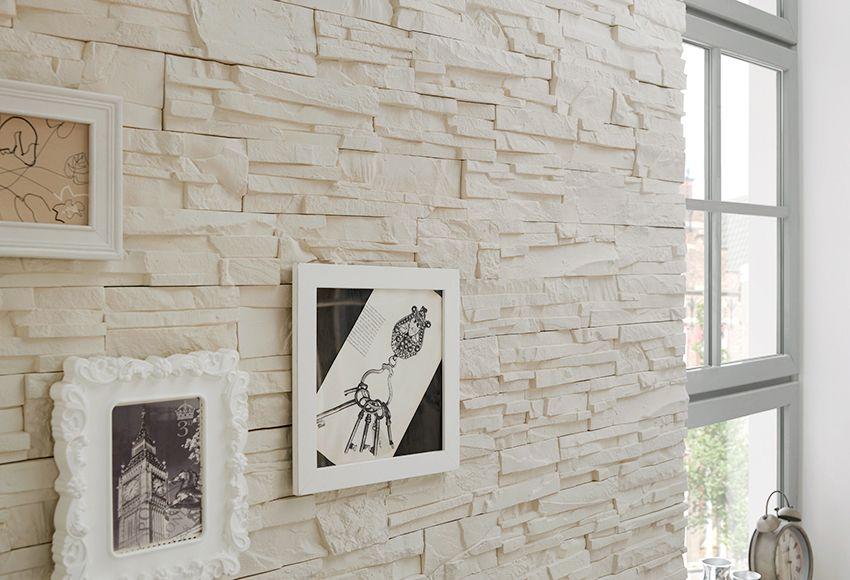 Revestimiento de interior con acabado en piedra natural de color blanco gran resistencia al - Revestimiento paredes imitacion piedra ...