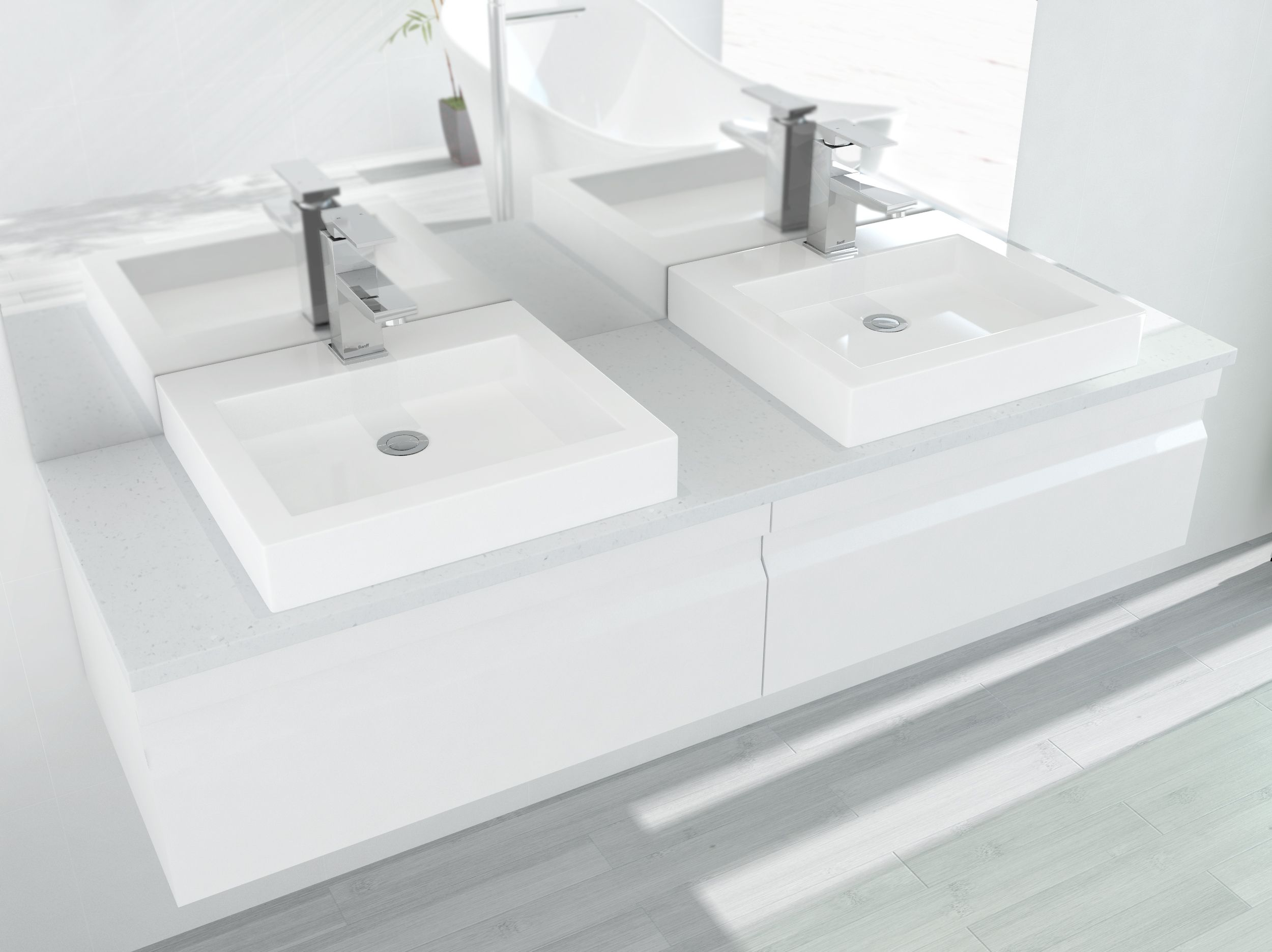 A pair of shallow-depth above-bench basins and two Damien II basin mixers (by Banff). The vanity area is further defined and enhanced by the 1800 x 900 wall mirror featuring fine polished edges (by Klarga, famous makers of high quality mirrors and shower screens)