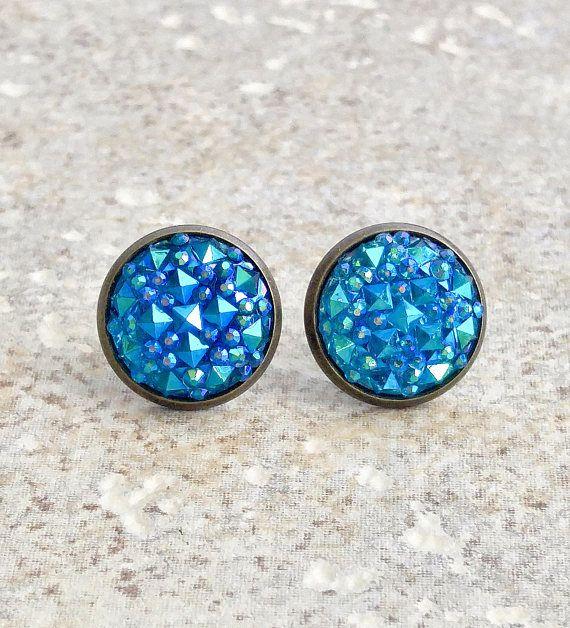 Teal Druzy Earrings Stud