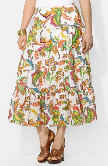 Lauren Ralph Lauren Floral Print Tiered Cotton Skirt (Plus Size) available at #Nordstrom