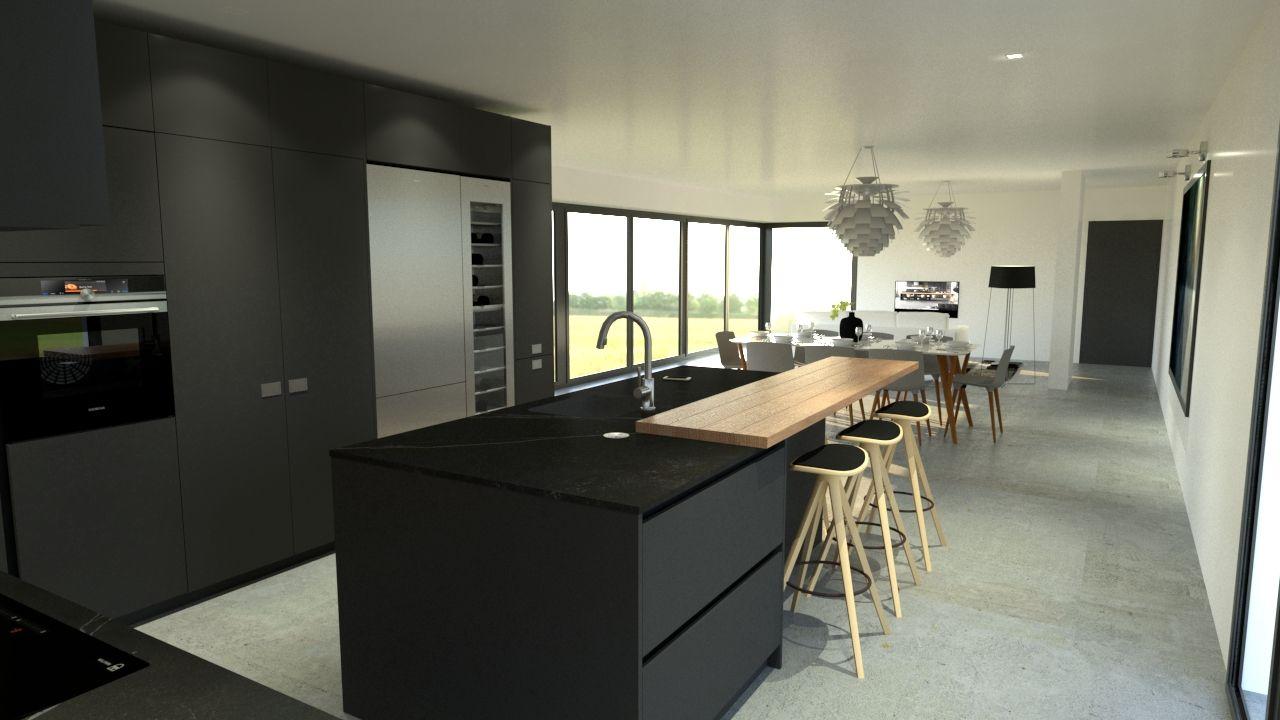 Cuisine moderne haut de gamme design gris anthracite et bois ...
