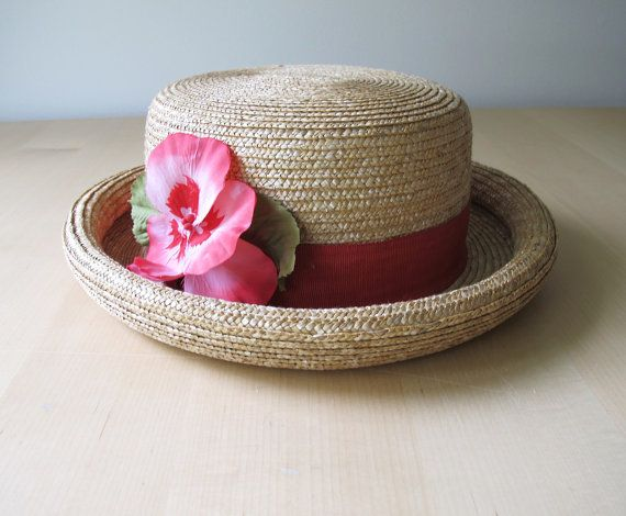 7d9389e5d2e 90s Liz Claiborne Ladies Straw Hat  Boater Hat  Blossom Hat with Rolled Brim