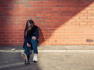 young girl alone