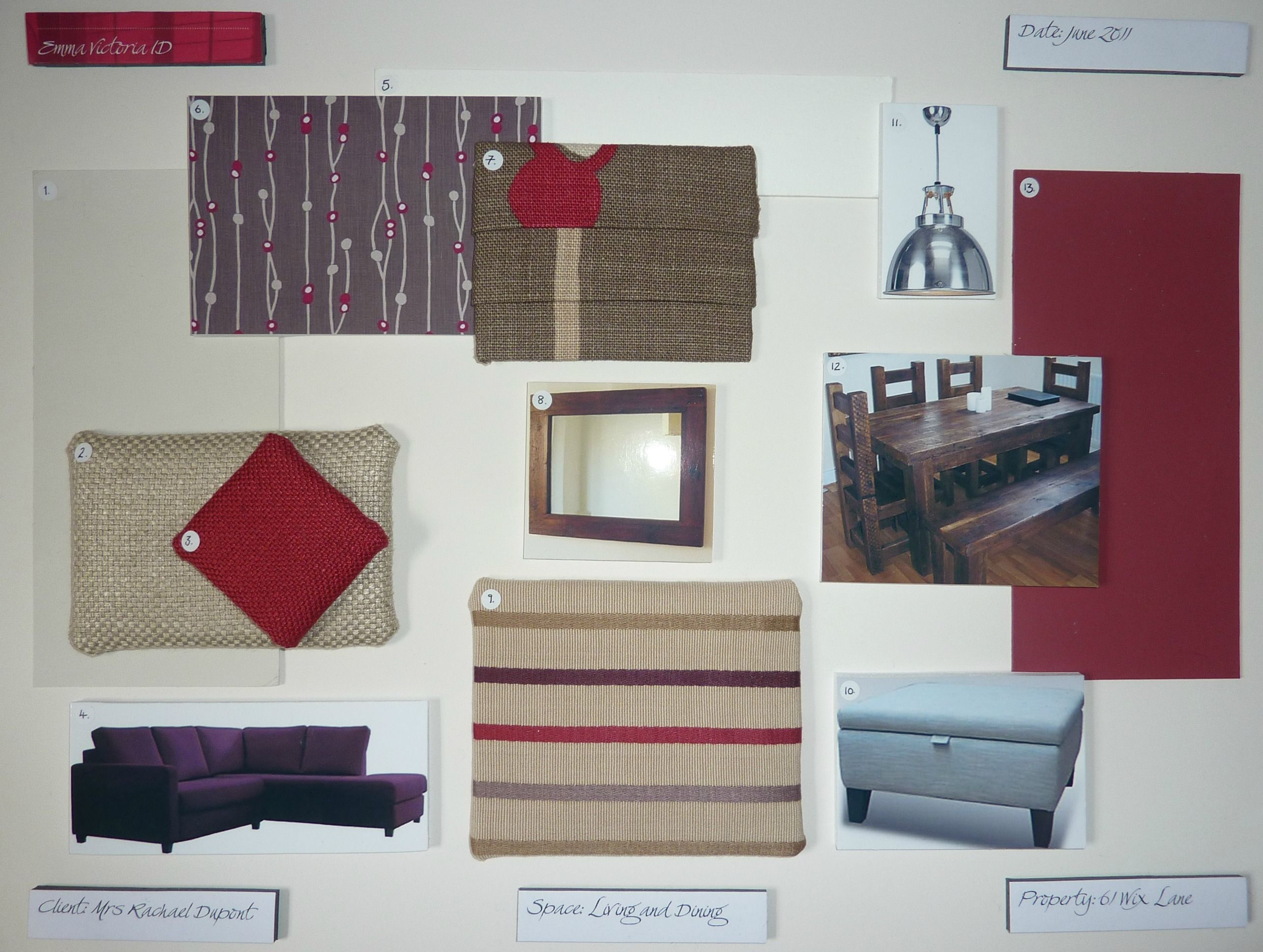An Example Sample Board For A Client In 2011
