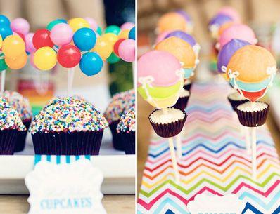 Rainbow Hot Air Balloon Birthday Party Balloon birthday parties