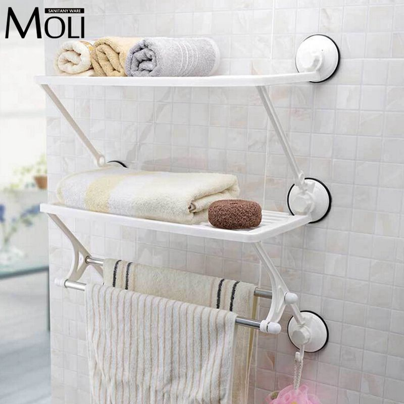 Dual Layer Towel Racks With Dual Bars Strong Suction Plastic Towel Holder Wall Suction Cup Bathroom Towel Sh Bathroom Shelves For Towels Towel Rack Towel Shelf