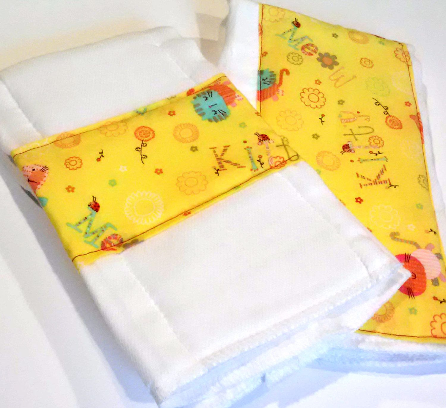 Kitty+Burp+Cloths+for+Baby+set+of+2+Baby+Girl+by+MoseyRoseDesigns,+$16.50