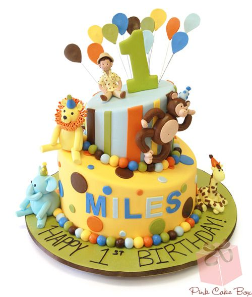 Safari First Birthday Cake and Cookies Celebration Cakes