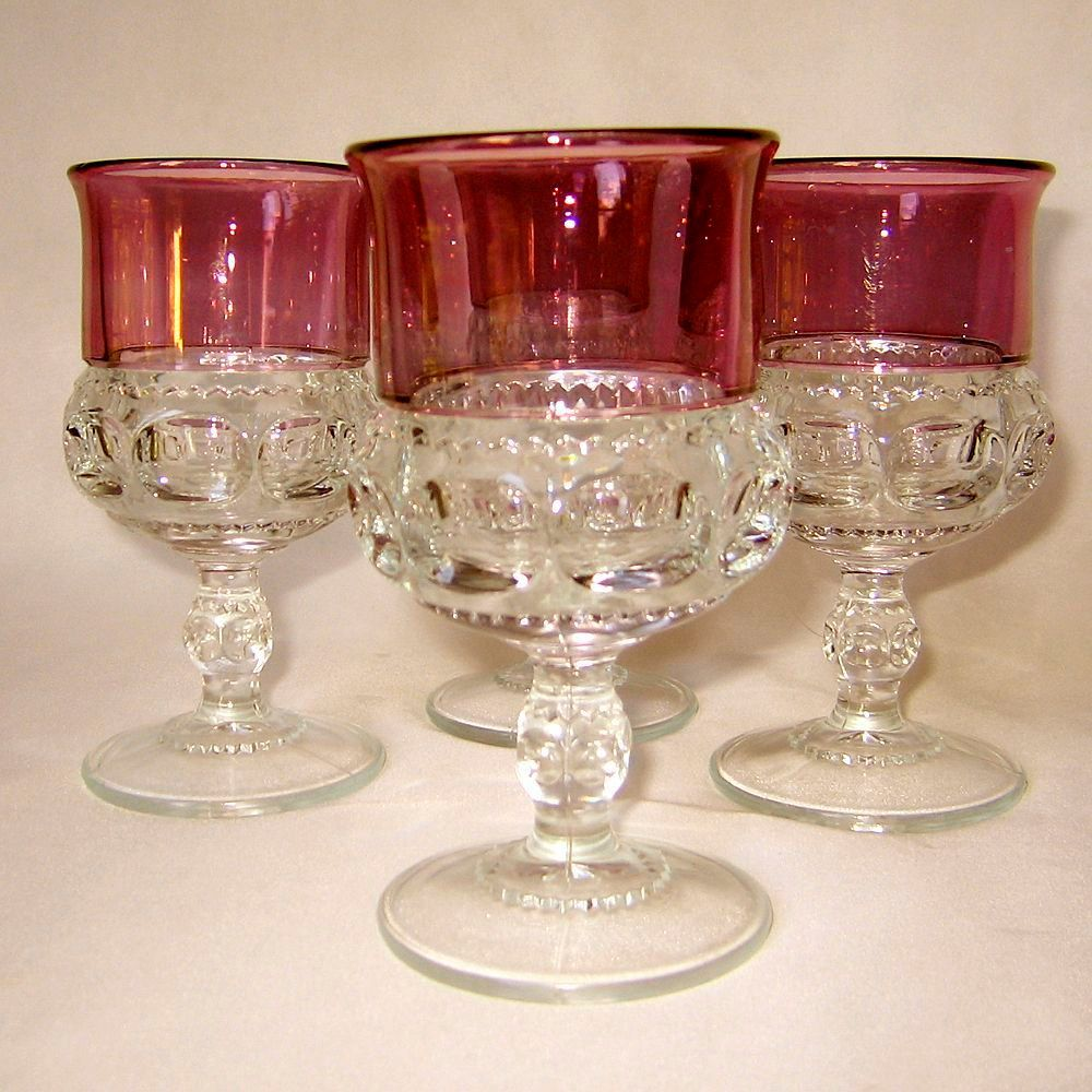 Tiffin Kings Crown Goblet 5 75 Inch Cranberry Flash Set Of 4 Etsy Kings Crown Goblet Vintage Glassware