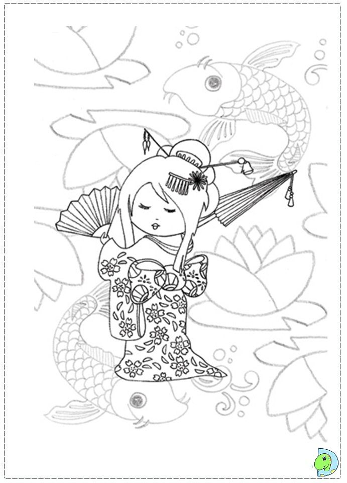 Kokeshi Dolls Coloring Pages Doll Colouring
