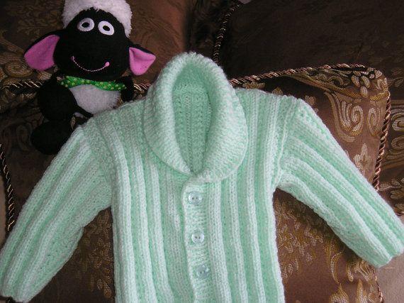 Baby Boy's Pale Green / Mint Green Shawl Neck Cardigan / Jacket - size 3-6 months