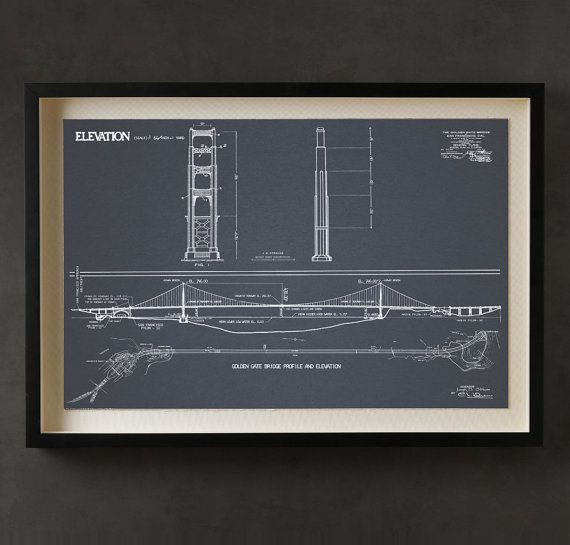 Our Own Custom San Francisco Golden Gate Bridge Blueprint Specs Pieced Together Off The Original Blueprints From 1930 S