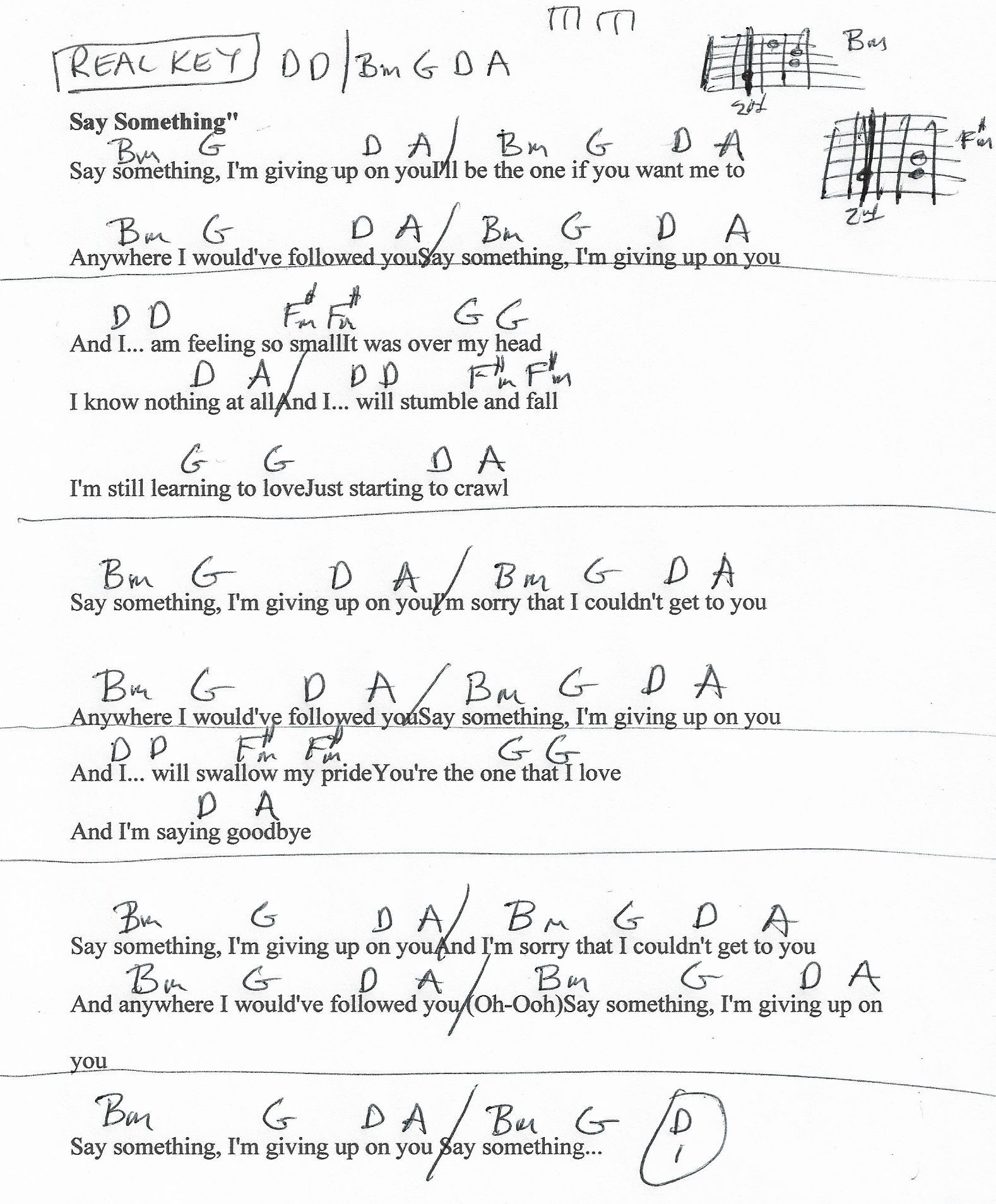 Say Something A Great Big World Guitar Chord Chart in D REAL ...