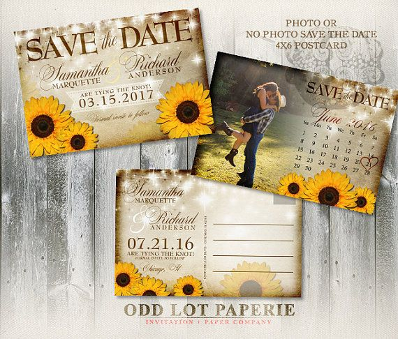 Sunflower Save the Date Postcard Rustic Wedding Announcement Rustic Sunflower on Barn Wood Printable Wedding Save the Date Calendar Card