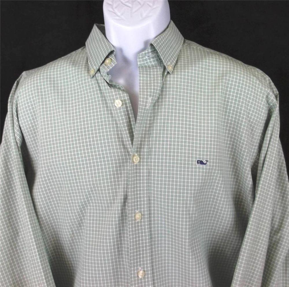 Green dress shirt mens VINEYARD VINES Green White Checks Long Sleeve WHALE Shirt Mens Size