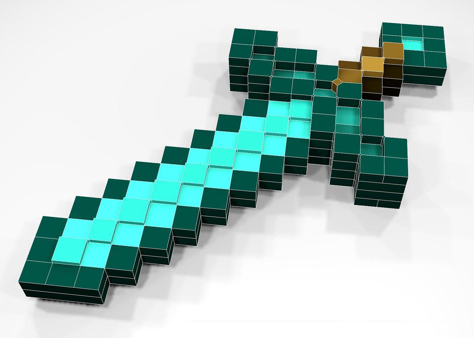 Minecraft Diamond Sword Full 3d Minecraft Diamond Sword Minecraft Sword Minecraft