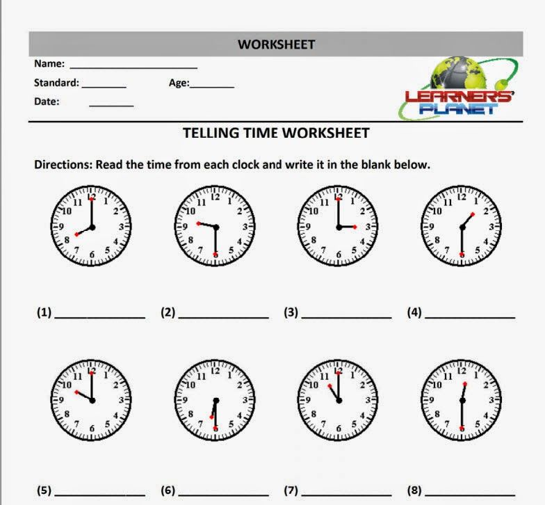 Telling Time Worksheets For First Grade Kids Multiplication And