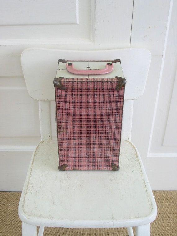 Vintage Doll Case Small Pink Plaid White Metal by vintagejane