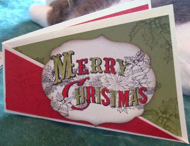 Real red ink (cs), Old olive ink (cs) early espresso ink, Labels framelits, Cream cs (non SU) Bells and Boughs, Christmas Postcard.