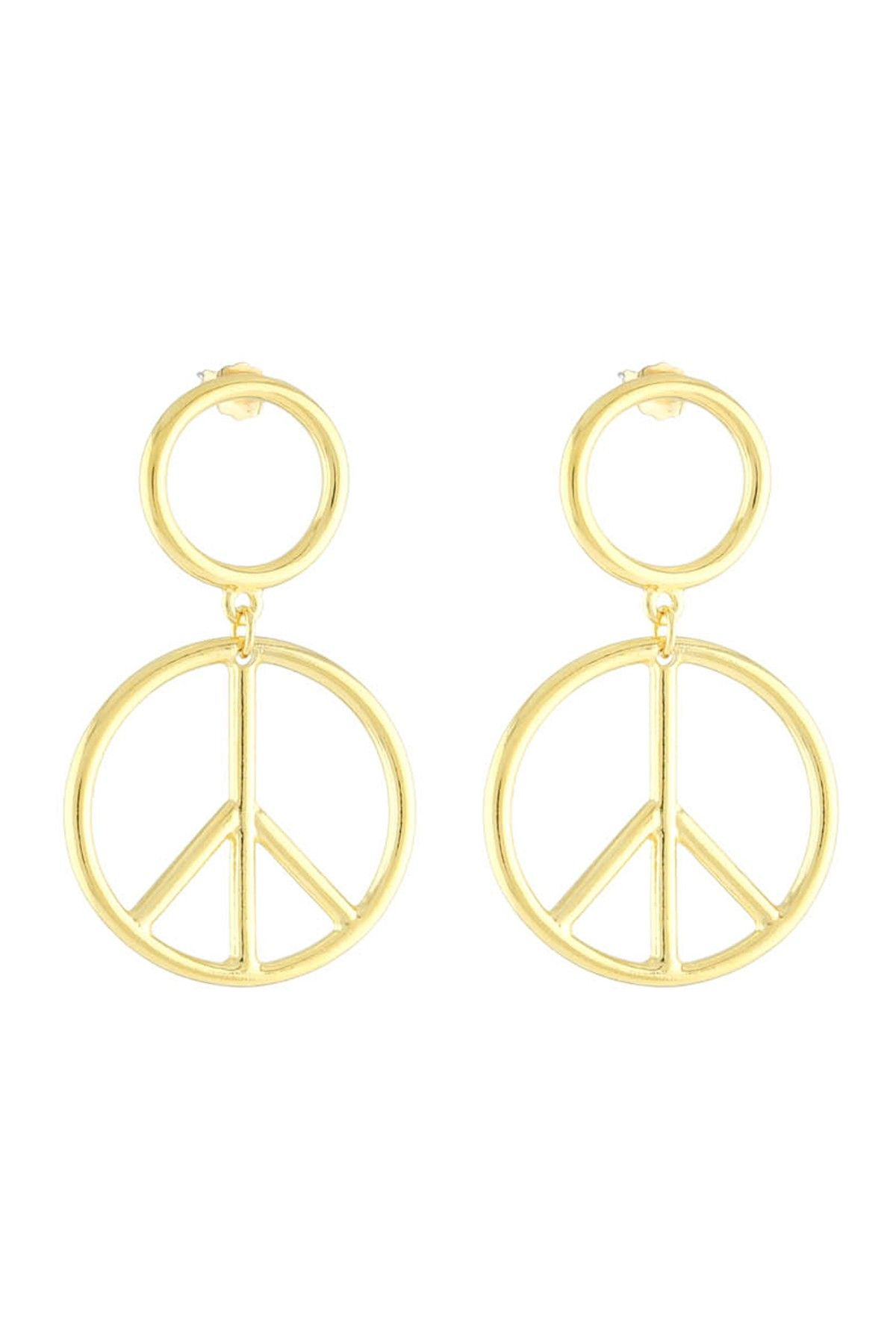 a28f098b6 Vanessa Mooney The Young Love Yellow Gold Plated Peace Sign Dangle Earrings