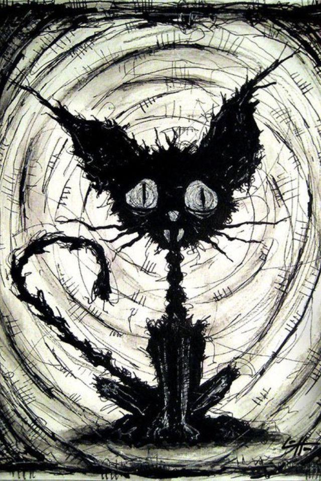 Crazy Drawing Creepy Cat Black Cat Art Halloween Cat