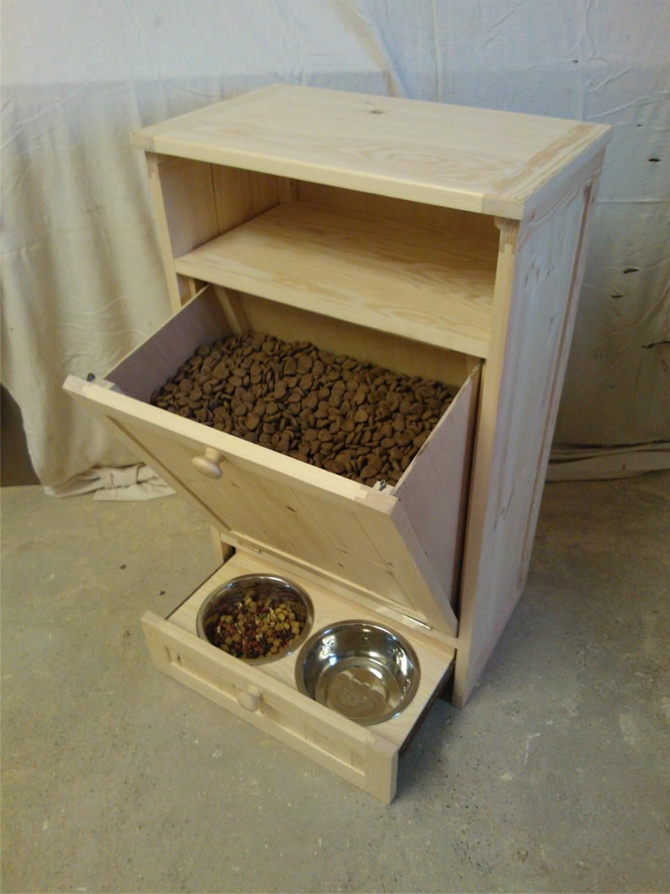 Pet Food Cabinet Storage Organizer Dog / Cat Feeding Station Unit | EBay