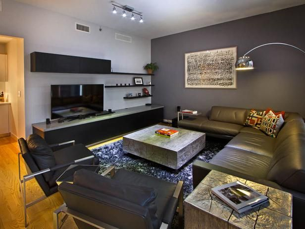 Contemporary Gray Bachelor Pad Hgtv, Living rooms and Room