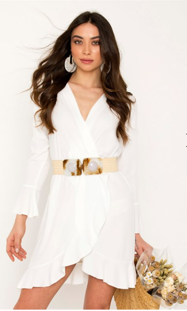 4fa6e62fc0d5 One size mini φόρεμα Κρουαζέ V λαιμόκοψη Μακρύ μανίκι Λάστιχο στη μέση  Βολάν στο τελείωμα Άνετη εφαρμογή Μήκος:82 cm .
