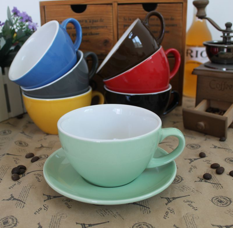 10 Oz Colorful Barista Competition Ceramic Coffee Cup Set Thick Latte Cup With Suacer Ceramic Coffee Cups Latte Cups Coffee Cups And Saucers